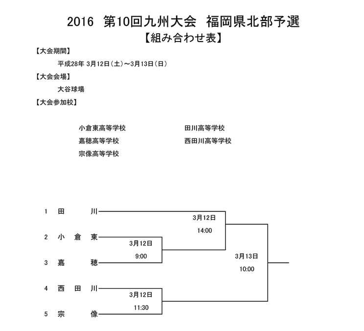 2016九州大会予選 組合せ